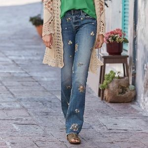 DRIFTWOOD Kelly Embroidered Boot Leg Jeans